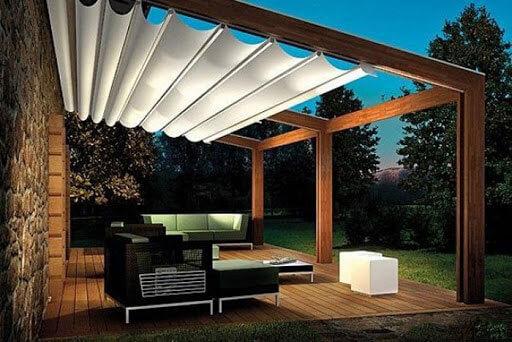 Tạo không gian nghỉ ngơi trong vườn với mái xếp di động sân vường Tân Tiến